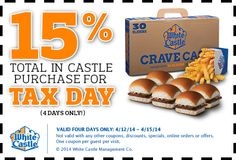 WHITE CASTLE $$ Coupon for 15% off Total In Castle Purchase for Tax Day (4/12 – 4/15)!