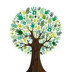 Aller verts foule humaine icônes mains dans la composition de l'arbre isolé. Banque d'images