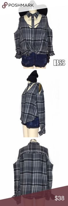 VINTAGE REWORKED OPEN SHOULDER DISTRESSED FLANNEL! VINTAGE REWORKED OPEN SHOULDER DISTRESSED FLANNEL! Oversized fit with distressing all over and thin worn in fabric! Top has been shortened and scalloped at the bottom! Neckline cutout with collar detail is PERFECT for FALL!!! Vintage Tops Button Down Shirts