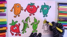 How To Draw Vegetables With Smiley Faces | Coloring Game For Kids | Smil...