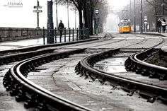 Classic winter day in Budapest. Photo by Hlinka Zsolt. Cool Photos, My Photos, My Town, Travel And Tourism, Winter Day, Hungary, Budapest, Railroad Tracks, Beautiful Places
