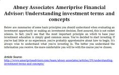 Abney Associates Ameriprise Financial Advisor: Understanding investment terms and concepts