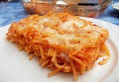 Tepsiben sült spagetti Spagetti Recipe, Cheese Spaghetti, Tortellini, Ravioli, Gnocchi, Lasagna, Macaroni And Cheese, Pasta, Bread
