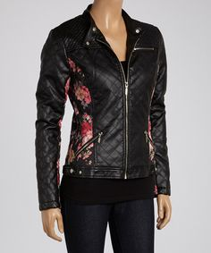 Black & Pink Floral Quilted Faux Leather Jacket