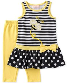 Kids Headquarters Little Girls' 2-Piece Bumble Bee Tunic & Leggings Set