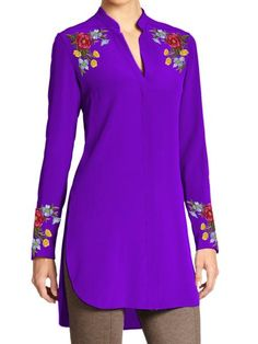 Ladies Tunic with Multicolor Floral Embroidery on Shoulders and Cuffs - EasternThings.com