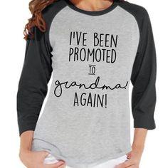 Pregnancy Announcement - Promoted to Grandma Again Shirt - Grey Raglan Shirt - Pregnancy Reveal Idea - Surprise New Grandparents - Grandma - 7 ate 9 Apparel