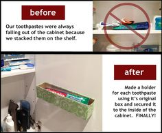 Seriously- this solves my toothpaste-falling-out-of-the-damn-cabinet-every-single-day issue.  Too easy!