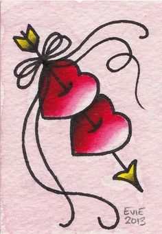 Valentine Hearts, tattoo flash by Evie Yapelli - showpigeon.com.... >>> Check out even more at the picture link