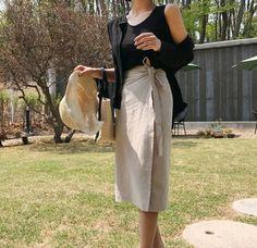linen High-Waisted long wrap skirt linen maxi skirt Beige
