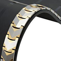Sparkling Mens Solid Tungsten Gold Titanium Link Bracelet   RnBJewellery