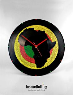 Africa Vinyl Clock Hand Painted Yellow Green Red by InsaneDotting