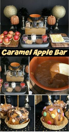 halloween food recipes. Caramel Apple Buffet - a fun Halloween or fall party idea for both kids and adults. Includes treat ideas, DIY decorating ideas and more!.