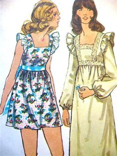 Vintage 70s sewing pattern Simplicity 5431  Ruffle dress.  Bust 32 inches. $5.95, via Etsy.