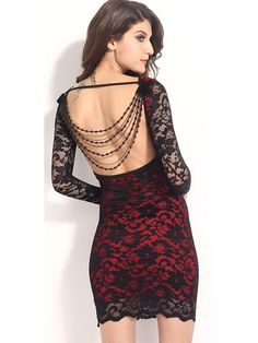 38e95ebf3d191 Red lace over a nude illusion sheath offsets this dress is daring low back