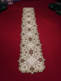 Hardanger Table Runner by RuthsHardanger on Etsy… Crochet Doily Patterns, Bead Loom Patterns, Doilies Crochet, Hardanger Embroidery, Paper Embroidery, Types Of Embroidery, Embroidery Designs, Cat Cross Stitches, Hello Kitty Wallpaper