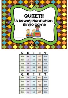"""This fun Bingo game will help your students review the different subjects found in each of the nonfiction Dewey sections in your library media center!    This download includes 32 different BINGO cards, """"Pull"""" cards for the library media specialist, a tracking sheet and the directions page. I've also included a Dewey chart for you to copy and give to your students to use as they play the game. $"""