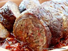 Falsu magru - Rollbraten mit Hackfleisch-Pancetta-Füllung
