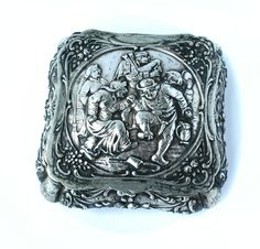 Continental 830 Coin Silver Repousse Table Snuff Box Scandinavian