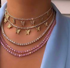 BP Baby Pink Tennis Halskette – Damen Schmuck und Accessoires - Famous Last Words Dainty Jewelry, Cute Jewelry, Luxury Jewelry, Body Jewelry, Bridal Jewelry, Vintage Jewelry, Jewelry Accessories, Fashion Accessories, Jewelry Design