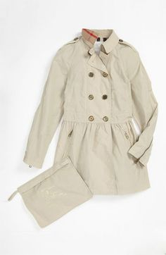 Burberry 'Mini Mantlebury' Double Breasted Trench Coat (Little Girls & Big Girls) available at #Nordstrom