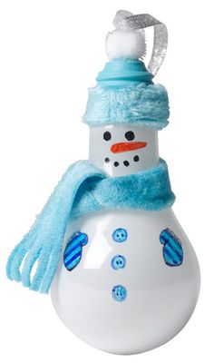 Light bulb snowman  »One white light bulb (unplugged)  »BIC Mark-It Permanent Markers in assorted colors  »Light blue acrylic paint  »Paint brush  »Light blue fluffy fabric  »Pom-pom for top of hat  »Scissors  »Hot glue gun/glue sticks  »Silver glitter glue  - Ribbon to hang ornament