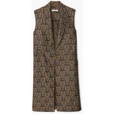 MANGO MANGO Jacquard Gilet (2.185 ARS) ❤ liked on Polyvore featuring outerwear, vests, black, sleeveless vest, lapel vest, sleeveless waistcoat, black waistcoat and black sleeveless vest