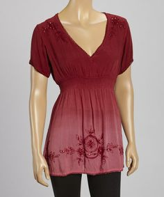 This Burgundy Beaded Embroidered Top - Women by Raya Sun is perfect! #zulilyfinds