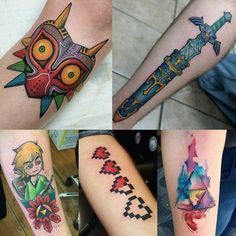 This week's with thanks to mat schultz top left… - Gamer House Ideas 2019 - 2020 Gamer Tattoos, Music Tattoos, Leg Tattoos, Body Art Tattoos, Sleeve Tattoos, Tattoos For Guys, Nintendo Tattoo, Gaming Tattoo, Legend Of Zelda Tattoos