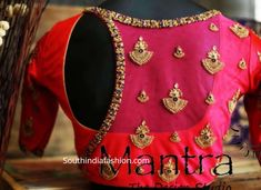 Maggam Work Pattu Saree Blouse Designs – South India Fashion Latest maggam work pattu saree blouse designs by Mantra - the design studio. designer blouse for silk sarees, maggam blouse patterns 2019 Pattu Saree Blouse Designs, Stylish Blouse Design, Silk Saree Blouse Designs, Fancy Blouse Designs, Bridal Blouse Designs, Blouse Patterns, Pink Blouse Design, Latest Blouse Designs, South Indian Blouse Designs