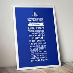 Everton FC 'Grand Old Team' Lyrics Print by KieranCarrollDesign, Everton Fc, Typographic Design, Team S, Lyrics, Football Posters, Garage Bar, Sports Teams, How To Make, Tracking Number