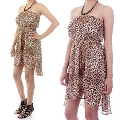 Chiffon Leopard Print Strapless Dress  $32.00 Free Domestic Shipping