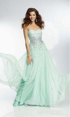 Elegant A-Line Light Sky Blue Natural Sleeveless Chiffon Evening Dress Cheap ykdress10482