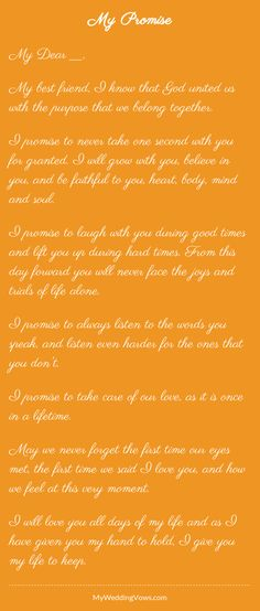 Inspiring wedding vows - hearted by myweddingvows.com ♥