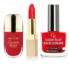 Golden Rose Kırmızı ruj, dudak parlatıcısı ve oje