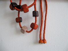 // Vintage Wooden Cubes Necklace