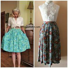 (ขายแล้ว)Vintage Midi-Skirts กระโปรงยาวแนววินเทจ ยาวเลยเข่ามานิดหน่อย ลายดอกสีฟ้า น่ารักสุดๆ Super Classic Made In Japan 610
