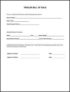 Bill Of Sale Blank Form Free