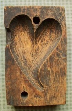 Old Primitive Wooden Heart Mold. because every kitchen is the heart of the home! WANT - love to have this for a pottery form! Heart In Nature, I Love Heart, With All My Heart, Key To My Heart, Happy Heart, Heart Art, Primitive Antiques, Country Primitive, Wooden Hearts