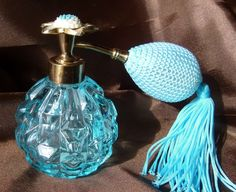 Vintage Irice Aqua Glass Perfume Bottle Flower Top with New Atomizer Puffer