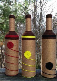 Yarn bottle set wine bottle set spring home decor by SiminaBanana Glass Bottle Crafts, Wine Bottle Art, Diy Bottle, Glass Bottles, Yarn Wrapped Bottles, Yarn Bottles, Kreative Jobs, Jute Crafts, Painted Wine Glasses