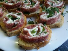 Rolls salami, cream cheese, green bell pepper, Vasilis bday party