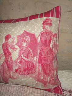 VINTAGE FRENCH FABRIC  Dramatic bolster pillow toile de jouy french linen. via Etsy.