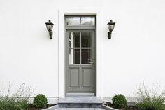 Rationel timber front door in pebble grey Porch Doors, House Doors, Back Doors, Windows And Doors, Garage Doors, Timber Front Door, Door Steps, Pebble Grey, Outdoor Spaces