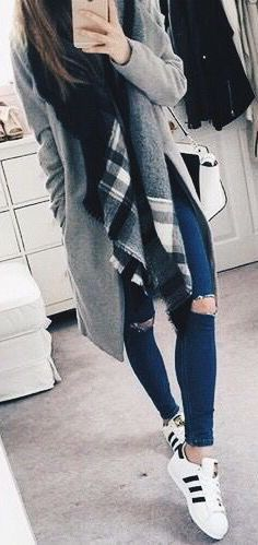#Winter #Outfits / Plaid Scarf + Gray Trench Coat