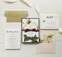 Floral wedding invites with gold glitter envelope liner, blush peach, wine, navy, plum and boho fonts.