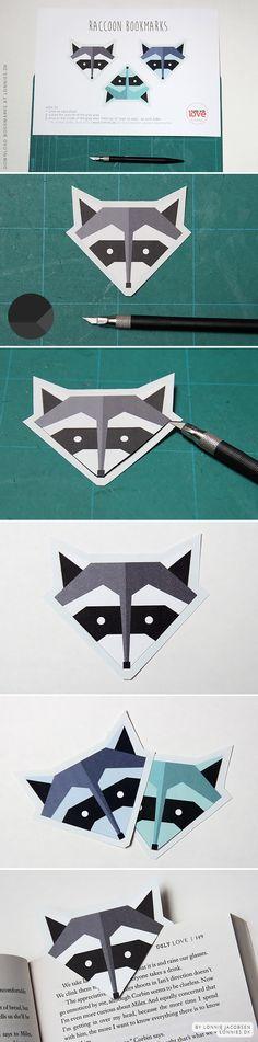 free printable raccoon bookmarks