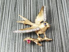 $375 --- Vintage 14k Gold Swallow Pin with Diamonds, Ruby and Sapphire Vintage Brooch 14k Yellow Gold Bird Pin Avian by BelmarJewelers on Etsy