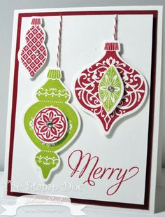 "The ""Merry"" is from the Snowflake Soiree stamp set, but all of the other elements are from the Ornament Keepsakes stamp set.  Cherry Cobbler and Lucky Limeade are the colors used here, but you could easily substitute any other coordinating colors for this card design."