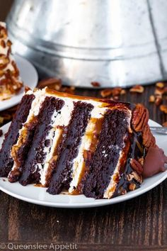 This Turtle Chocolate Layer Cake starts with rich, decadent and moist chocolate cake layers that are filled with a caramel pecan sauce and covered in a smooth caramel frosting, then finished off with a caramel and ganache drip and chopped pecans! Easy Appetizer Recipes, Dessert Recipes, Kraft Recipes, Dessert Ideas, Just Desserts, Delicious Desserts, Sweet & Easy, Chocolate Turtles, Layer Cake Recipes